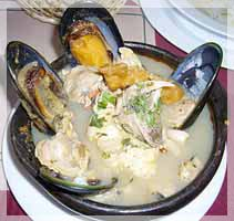 one of the many seafood dishes